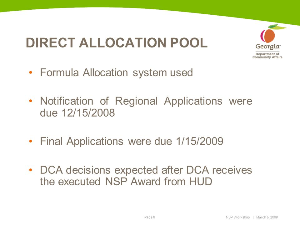 DIRECT ALLOCATION POOL