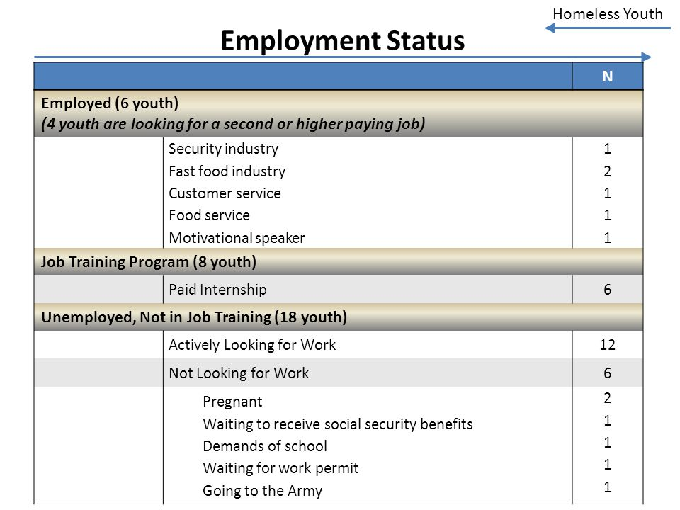 Employment Status N Employed (6 youth)