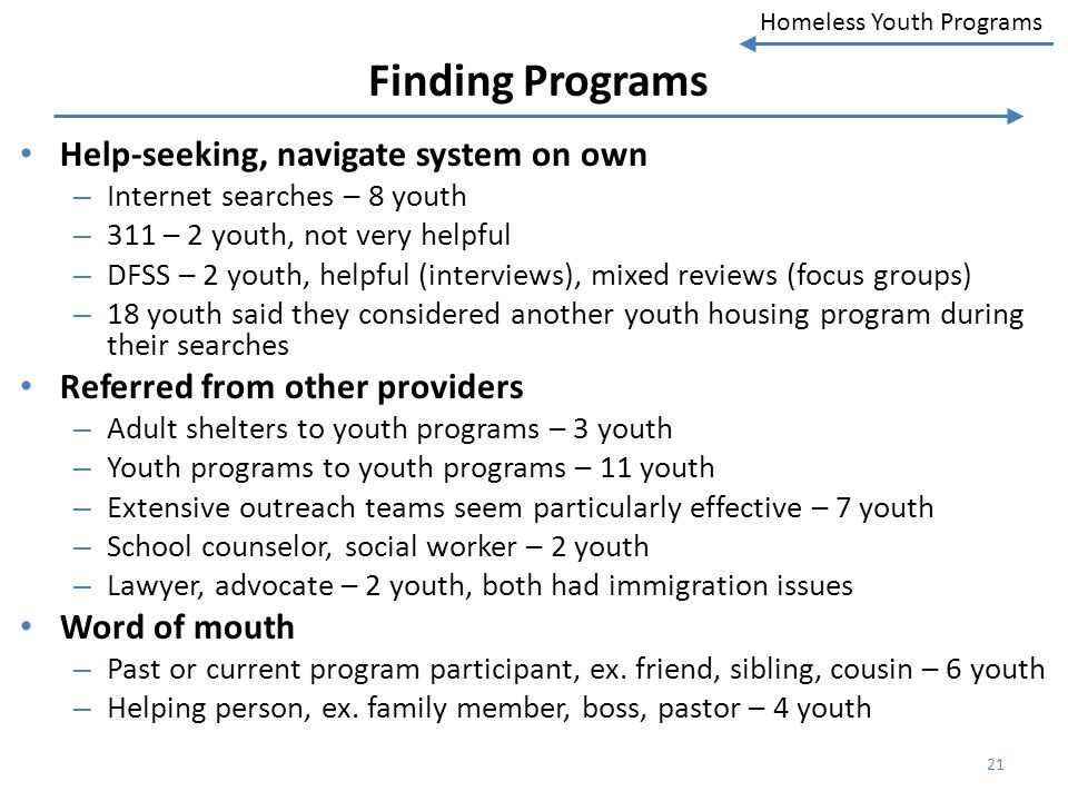 Finding Programs Help-seeking, navigate system on own
