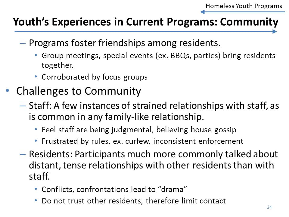 Youth's Experiences in Current Programs: Community