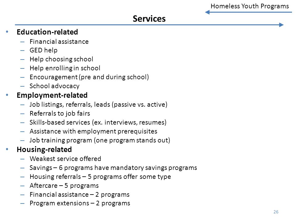Services Education-related Employment-related Housing-related