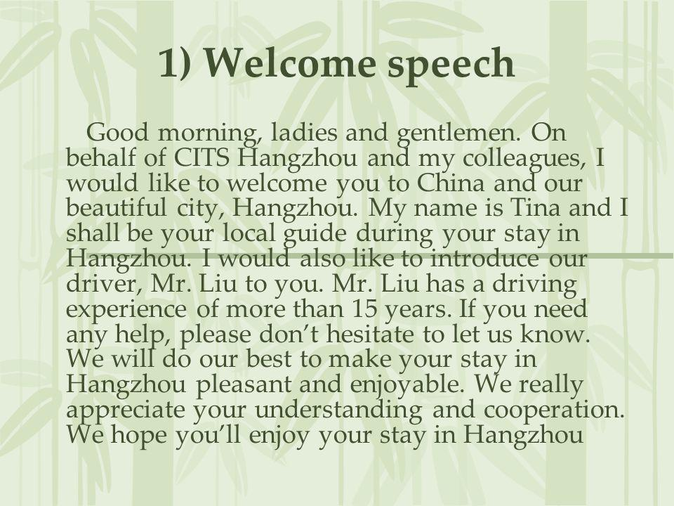 1) Welcome speech