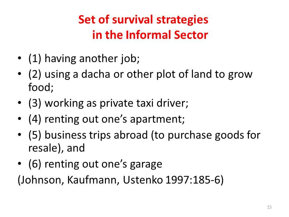 Set of survival strategies in the Informal Sector
