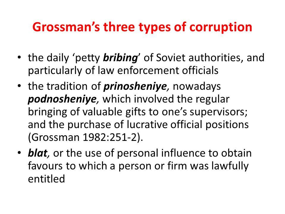 Grossman's three types of corruption