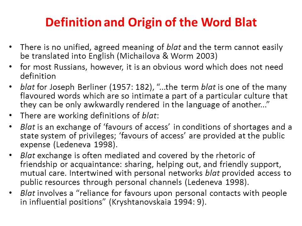 Definition and Origin of the Word Blat
