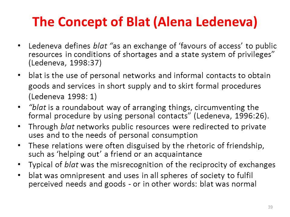 The Concept of Blat (Alena Ledeneva)