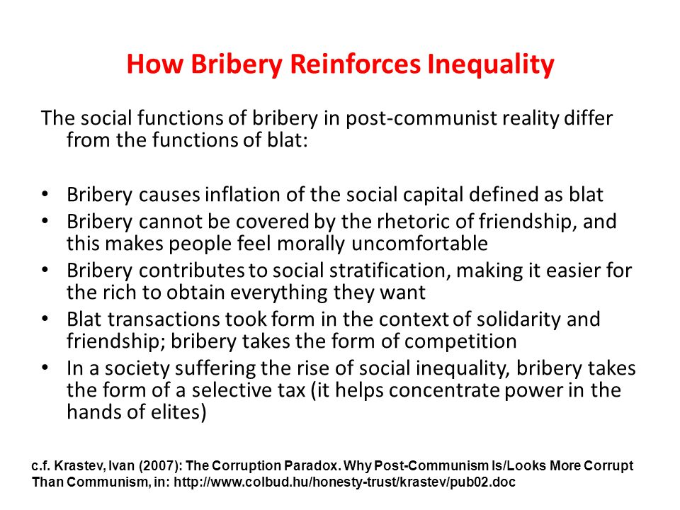 How Bribery Reinforces Inequality