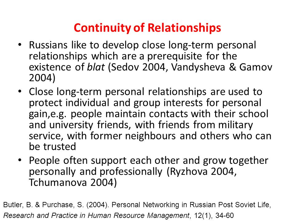 Continuity of Relationships