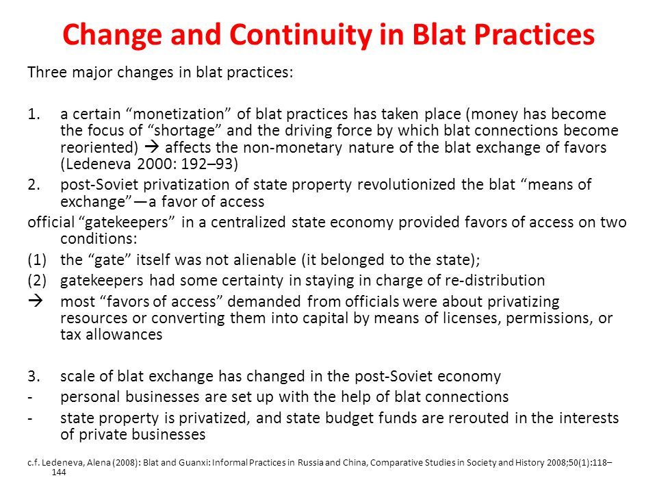 Change and Continuity in Blat Practices