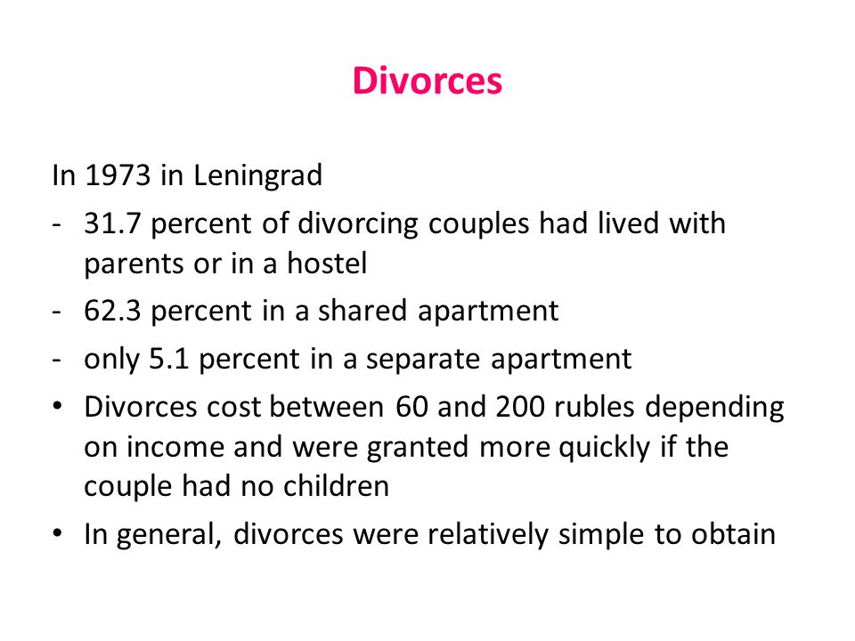 Divorces In 1973 in Leningrad