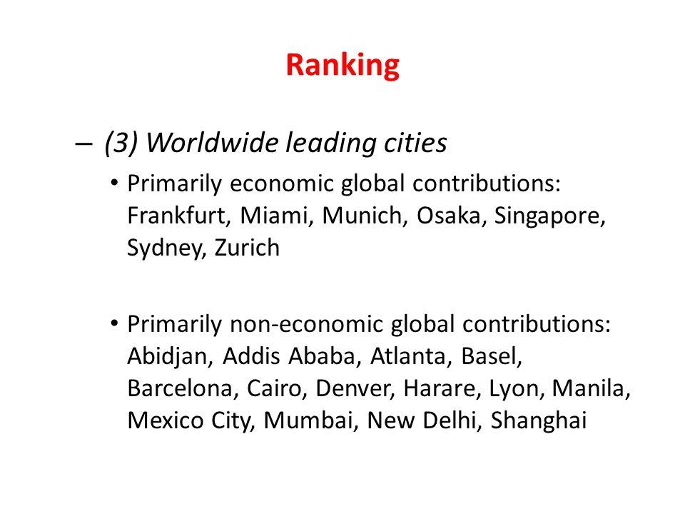 Ranking (3) Worldwide leading cities
