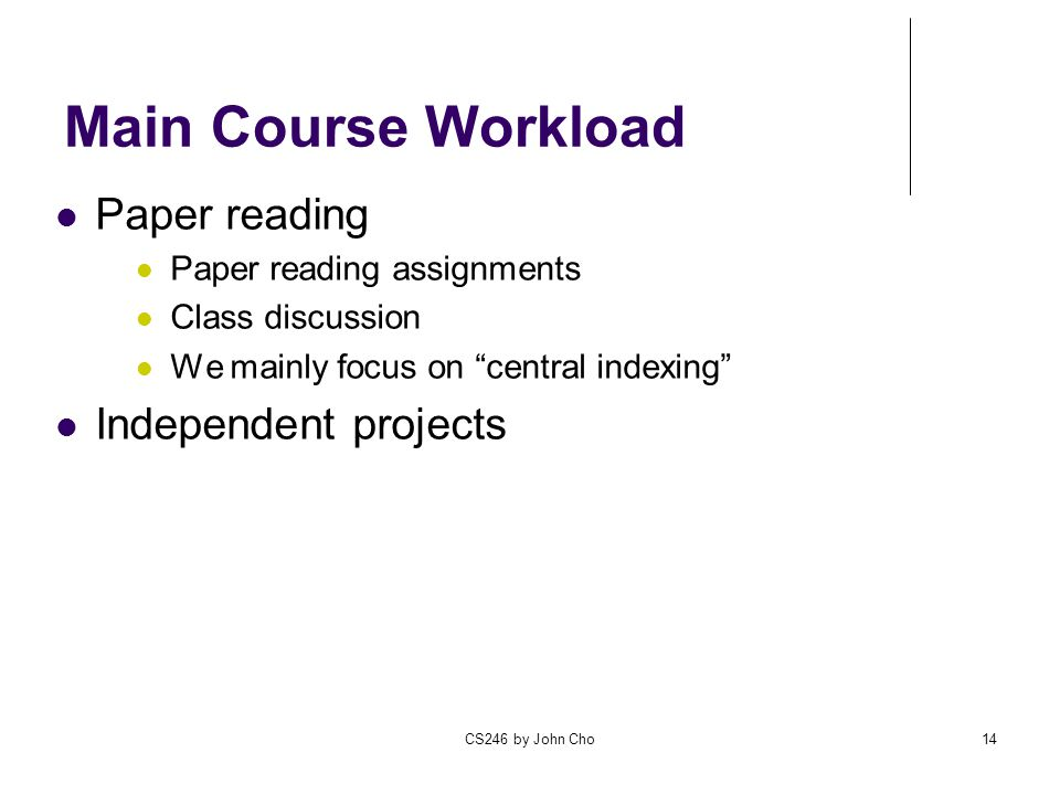 Main Course Workload Paper reading Independent projects