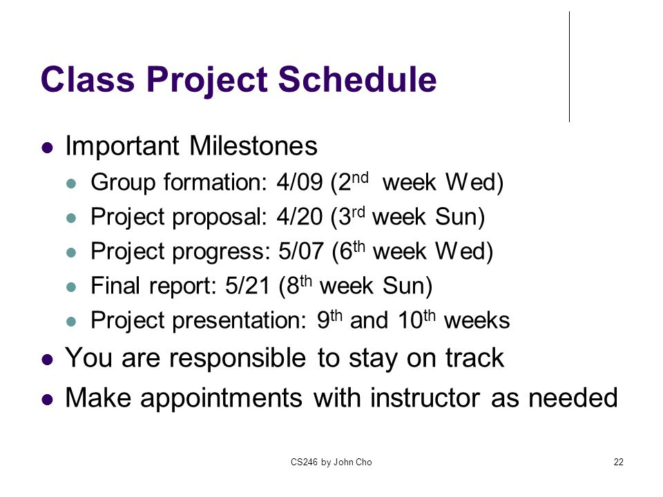 Class Project Schedule