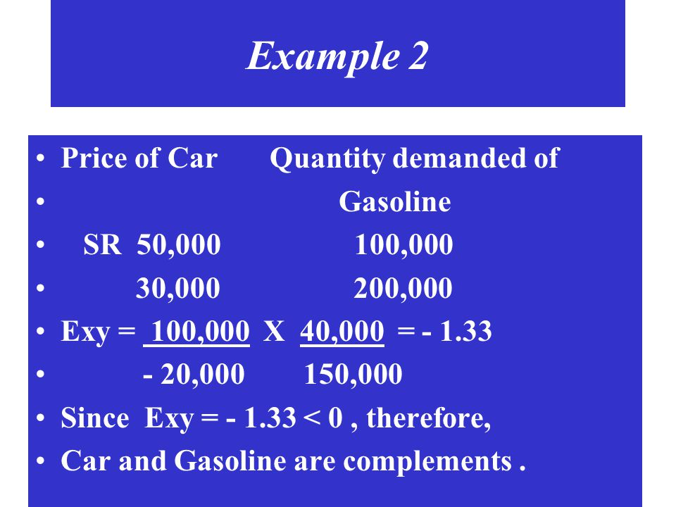 Example 2 Price of Car Quantity demanded of Gasoline SR 50,000 100,000