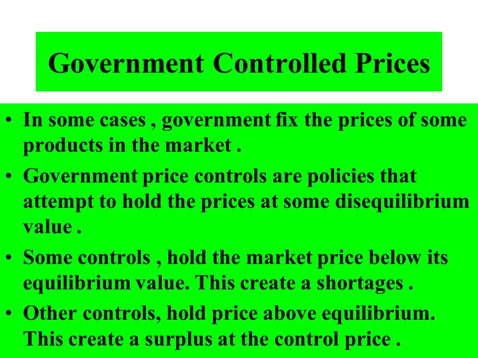 Government Controlled Prices