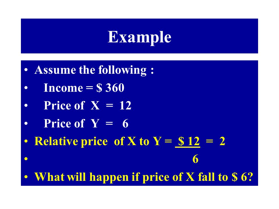 Example Assume the following : Income = $ 360 Price of X = 12