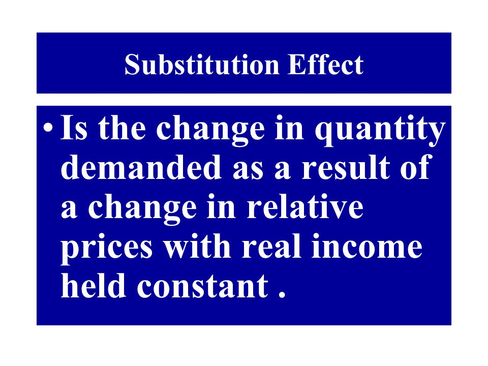 Substitution Effect Is the change in quantity demanded as a result of a change in relative prices with real income held constant .