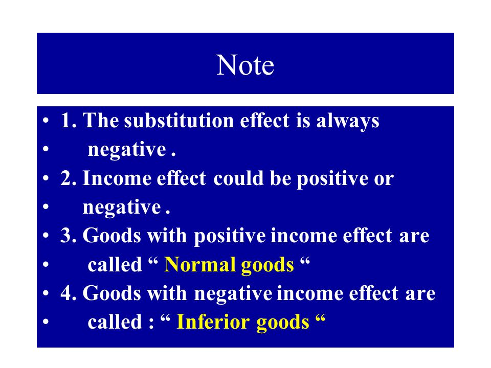 Note 1. The substitution effect is always negative .