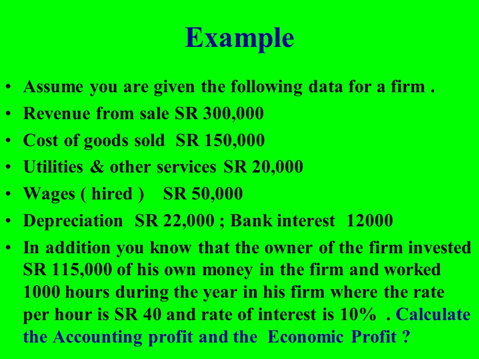 Example Assume you are given the following data for a firm .