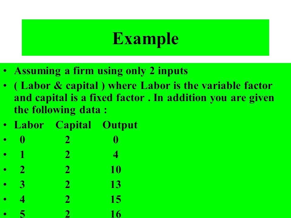 Example Assuming a firm using only 2 inputs