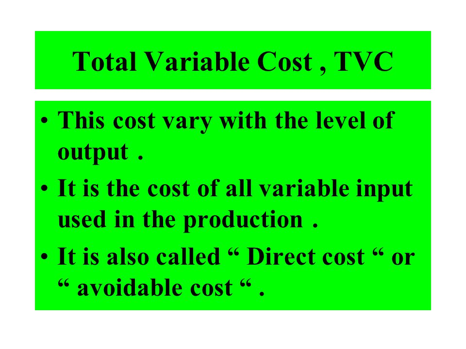 Total Variable Cost , TVC