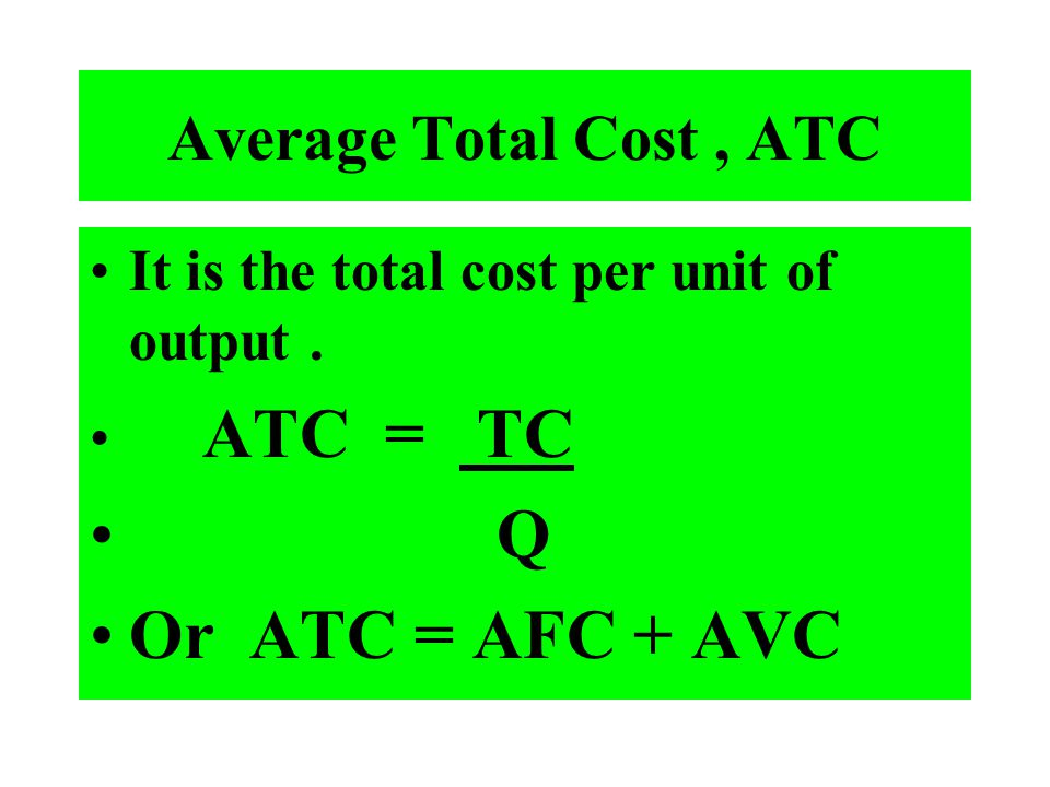 Q Or ATC = AFC + AVC Average Total Cost , ATC