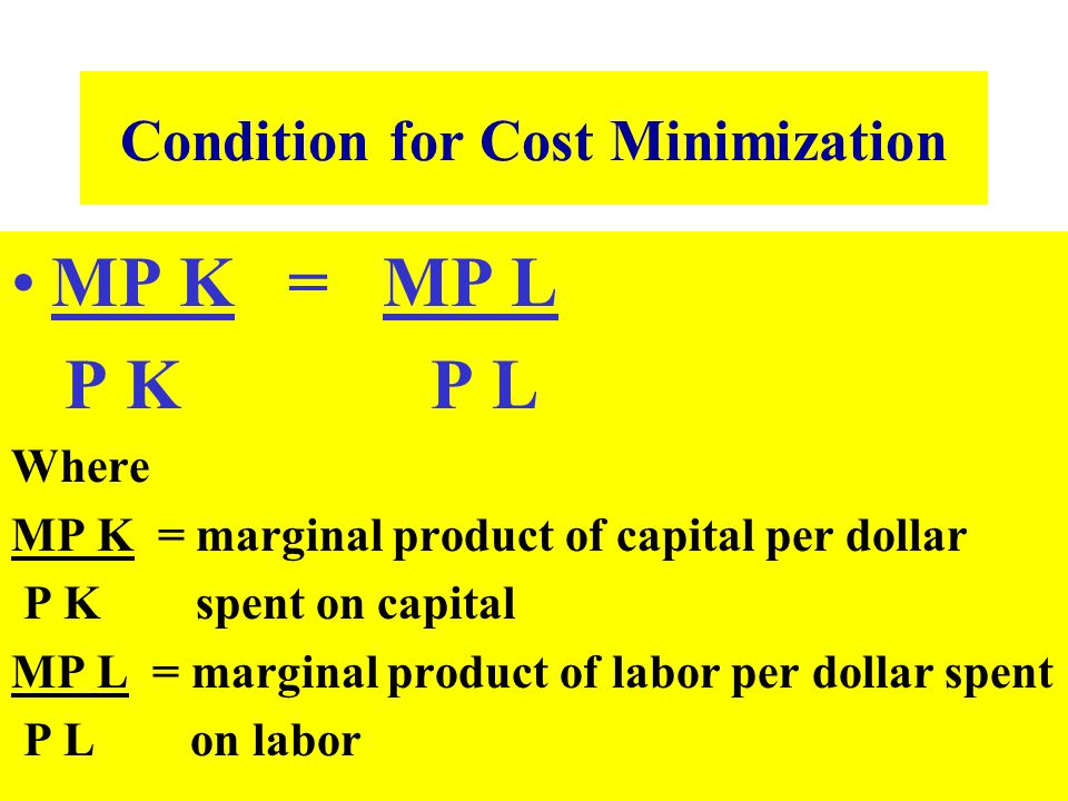 Condition for Cost Minimization