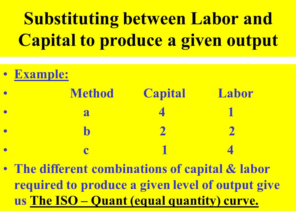 Substituting between Labor and Capital to produce a given output