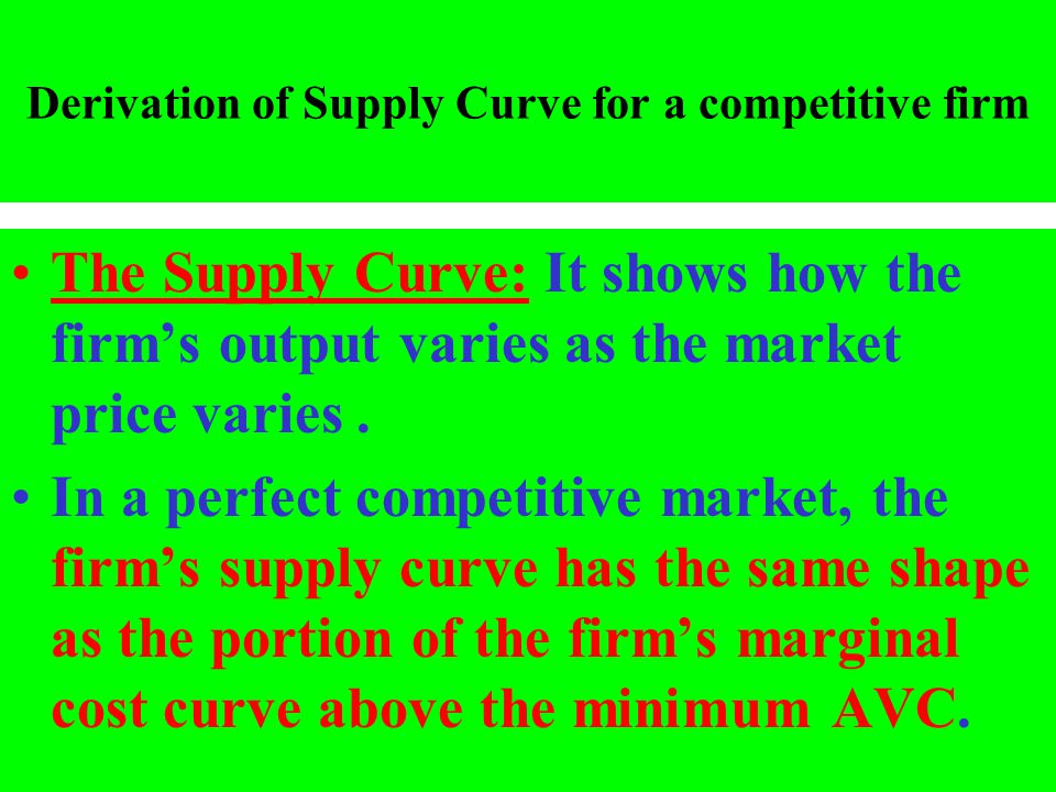 Derivation of Supply Curve for a competitive firm
