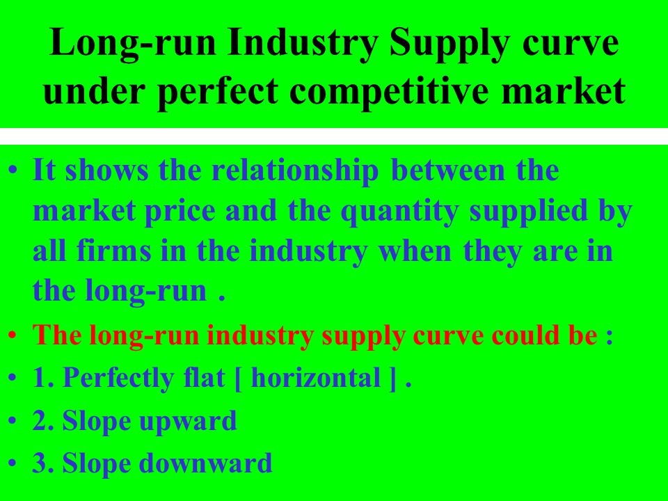 Long-run Industry Supply curve under perfect competitive market