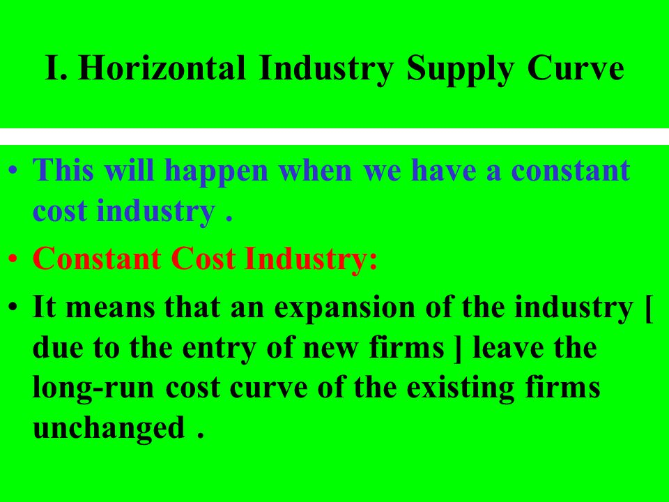 I. Horizontal Industry Supply Curve