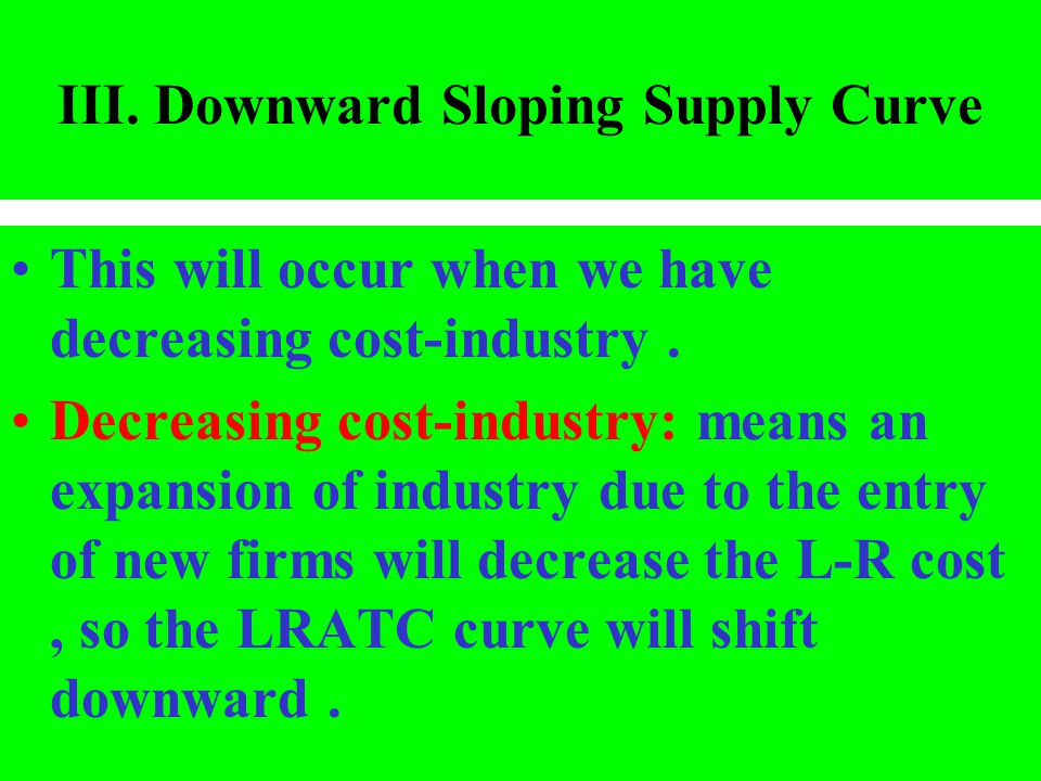 III. Downward Sloping Supply Curve
