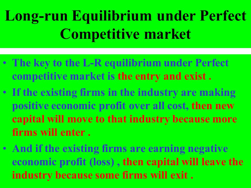 Long-run Equilibrium under Perfect Competitive market