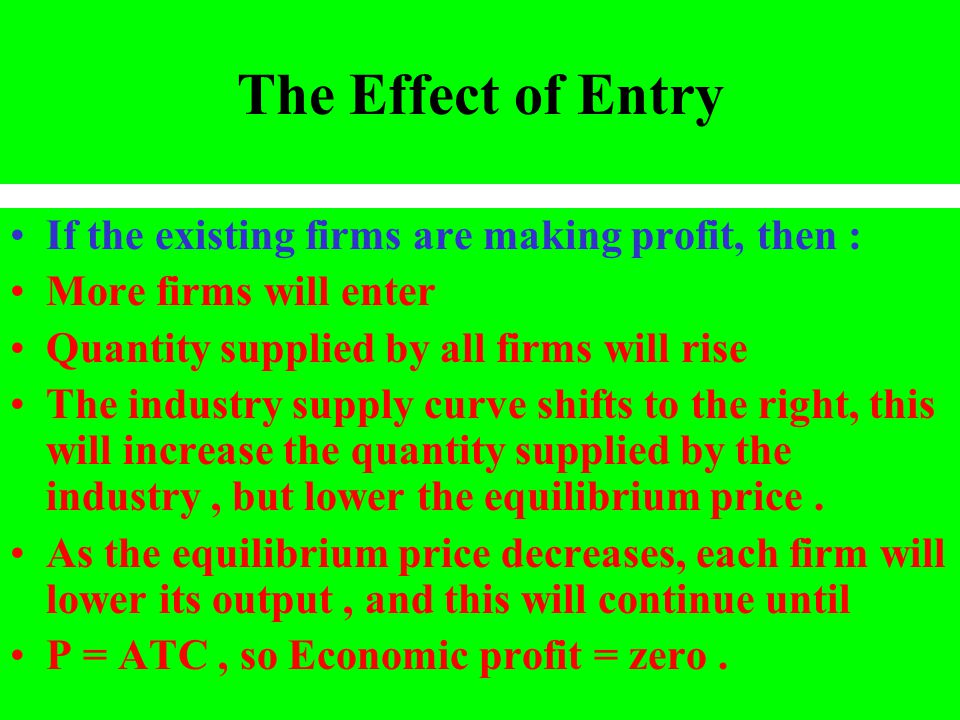 The Effect of Entry If the existing firms are making profit, then :