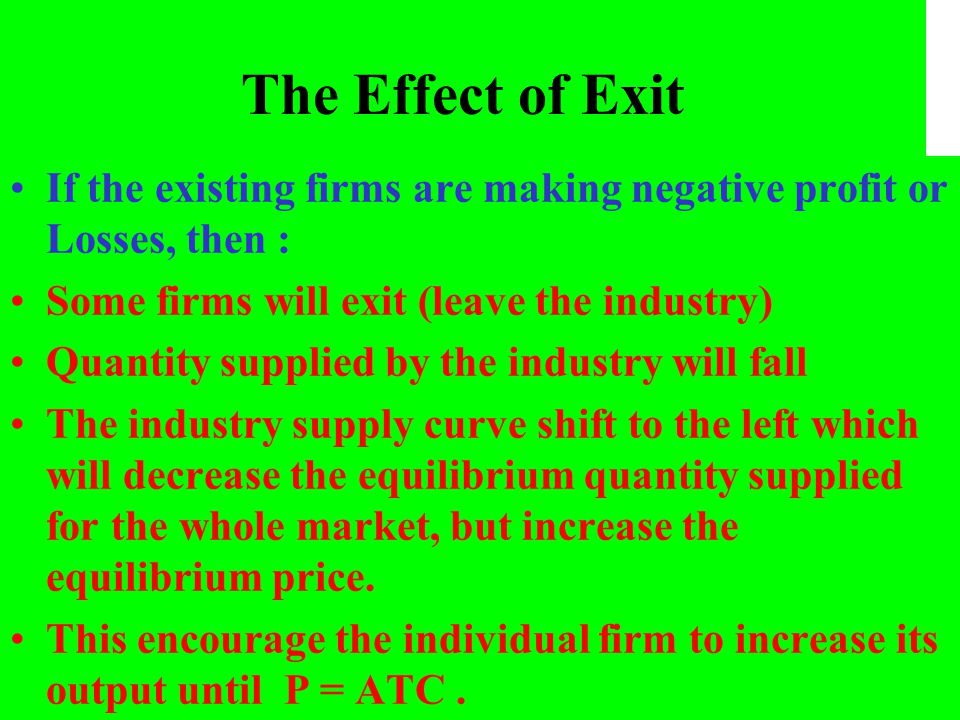 The Effect of Exit If the existing firms are making negative profit or Losses, then : Some firms will exit (leave the industry)