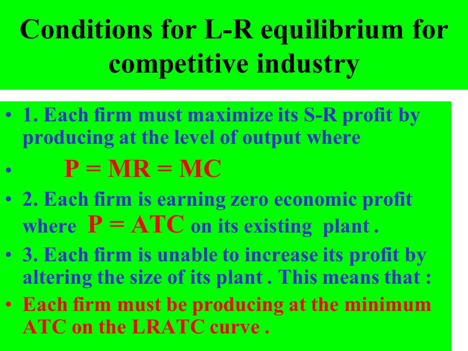 Conditions for L-R equilibrium for competitive industry