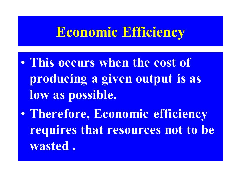 Economic Efficiency This occurs when the cost of producing a given output is as low as possible.