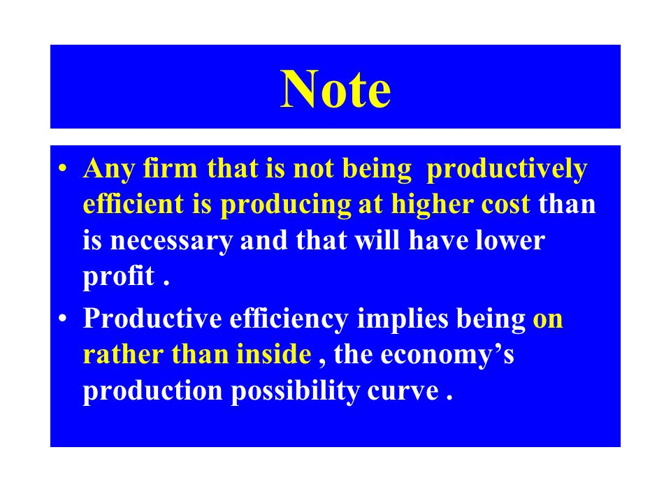 Note Any firm that is not being productively efficient is producing at higher cost than is necessary and that will have lower profit .