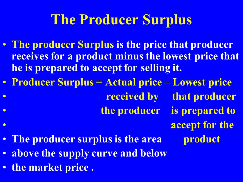 The Producer Surplus