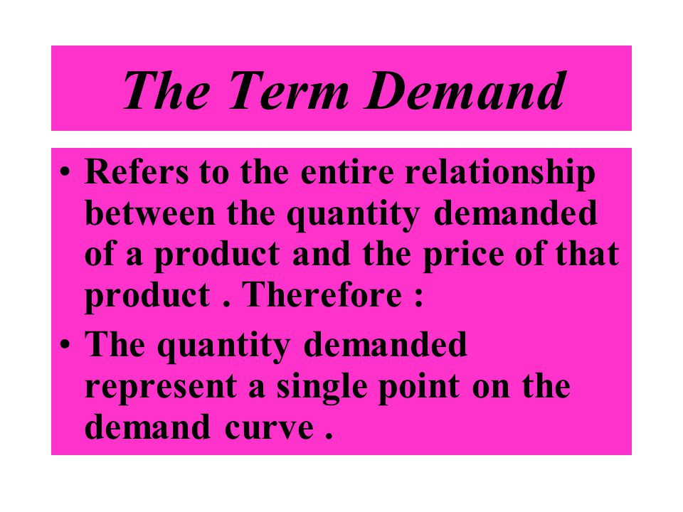 The Term Demand Refers to the entire relationship between the quantity demanded of a product and the price of that product . Therefore :
