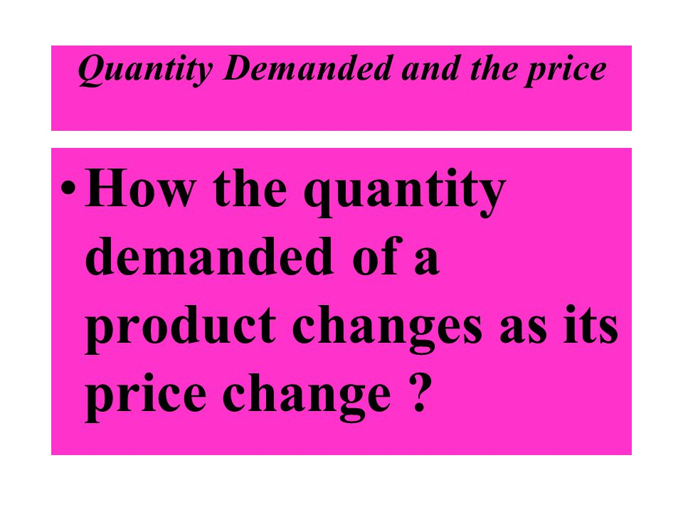 Quantity Demanded and the price