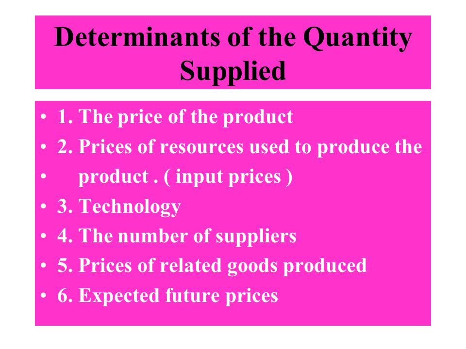 Determinants of the Quantity Supplied