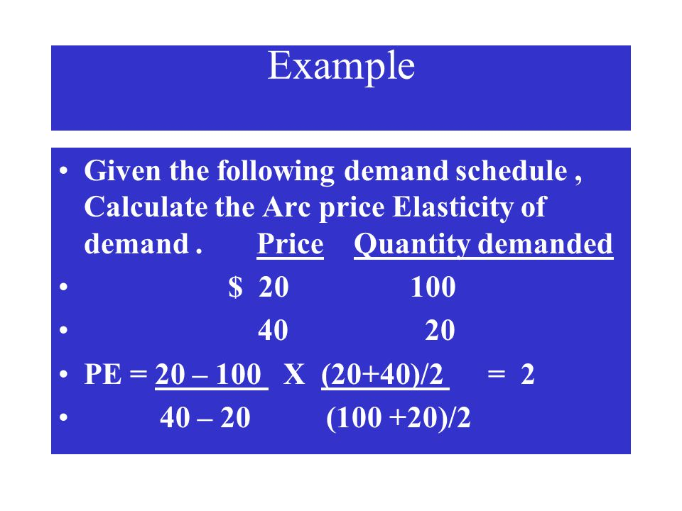 Example Given the following demand schedule , Calculate the Arc price Elasticity of demand . Price Quantity demanded.