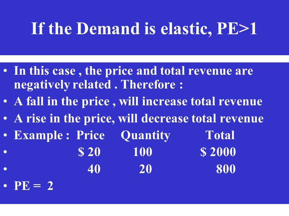 If the Demand is elastic, PE>1