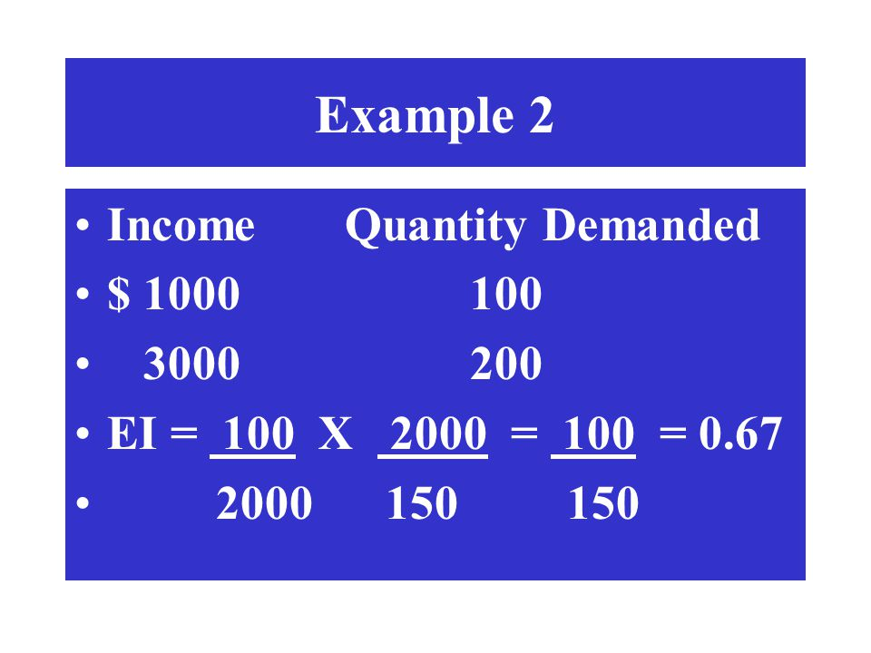 Example 2 Income Quantity Demanded $ 1000 100 3000 200