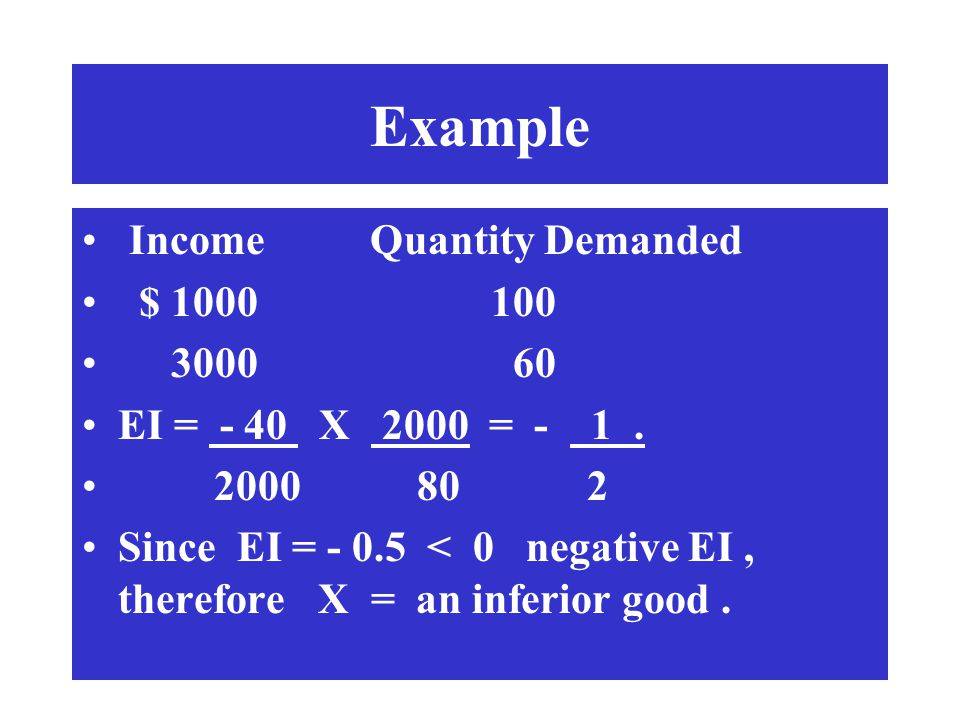 Example Income Quantity Demanded $ 1000 100 3000 60