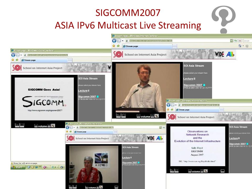 SIGCOMM2007 ASIA IPv6 Multicast Live Streaming