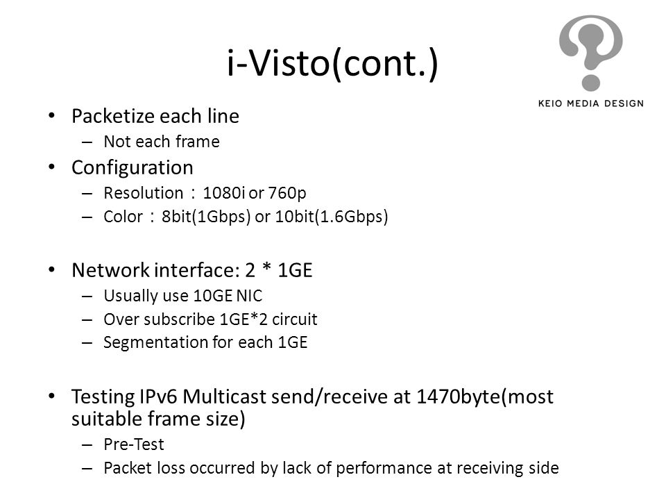 i-Visto(cont.) Packetize each line Configuration