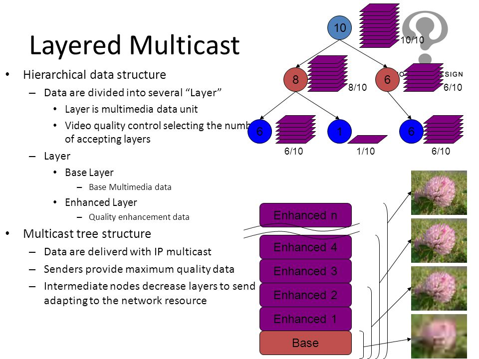 Layered Multicast Hierarchical data structure Multicast tree structure