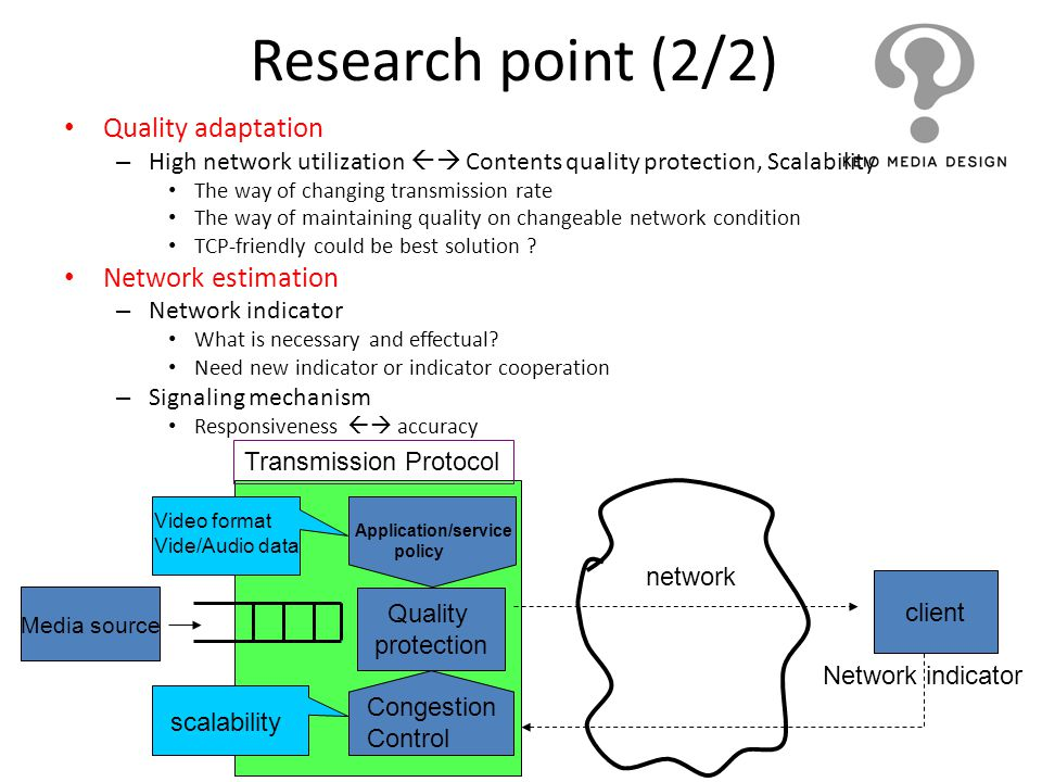 Research point (2/2) Quality adaptation Network estimation